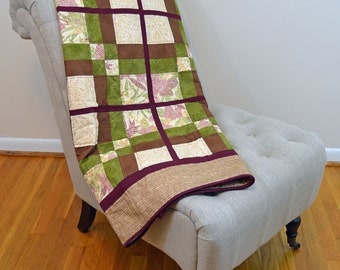 Brown, Green and Burgundy Windowpanes Quilt