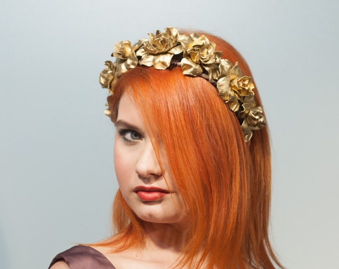 Gold flower crown Bridal floral headpiece Festival Crown Wedding wreath rose crown Summer Headdress Fasion Floral Headband flower girl Event