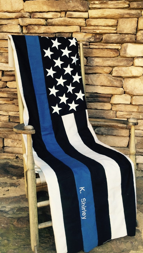 Thin Blue Line American Flag Quilt Police Officer Thin