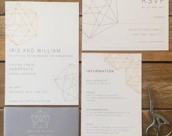 Diamond Printable Wedding Stationery, Personalised Digital PDF