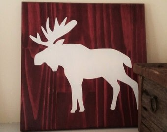 Red Moose Silhouette, Canadian Wood Sign, Moose Cottage Decor, Moose Home Decor