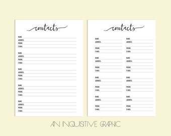 planner address insert refill happy planner printable