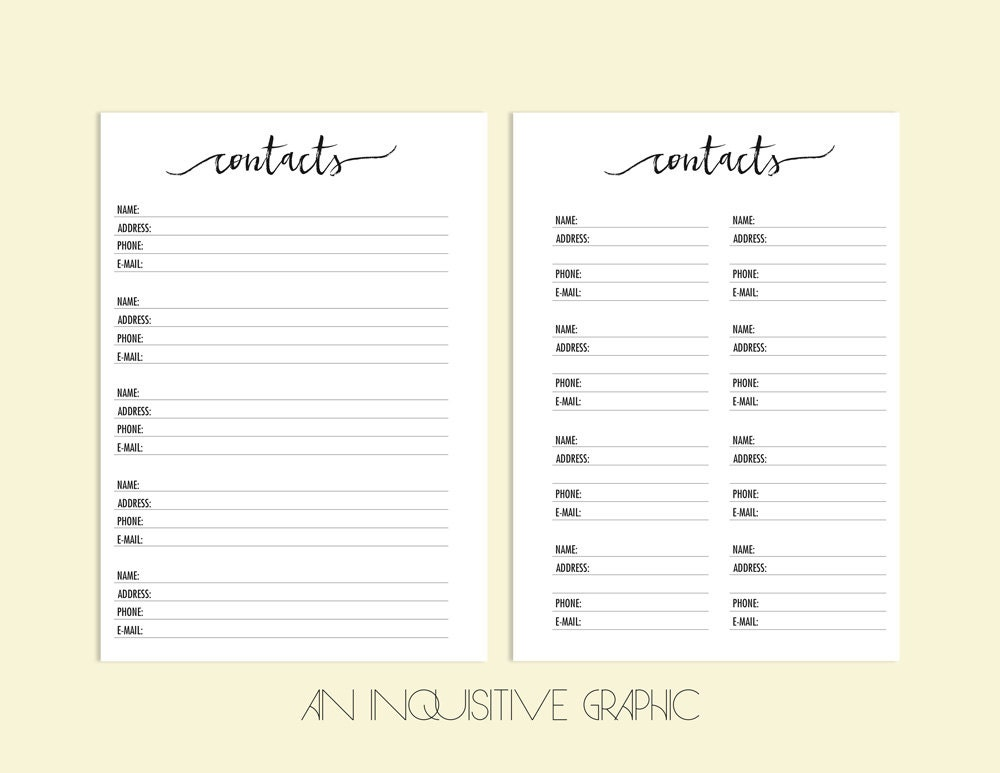 Contact Page A5 Planner Inserts Contacts Planner Printable