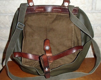 Vintage Swiss Army military bread bag bicycle pannier purse hunting fishing