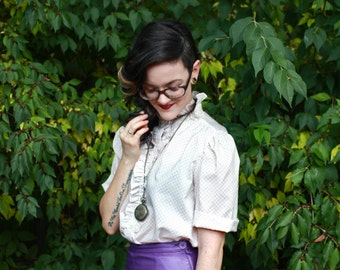 70's Contima Ruffled-collar Button-up Blouse