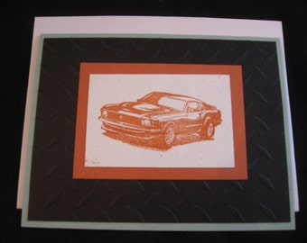 Set of 4 hand stamped blank cars cards