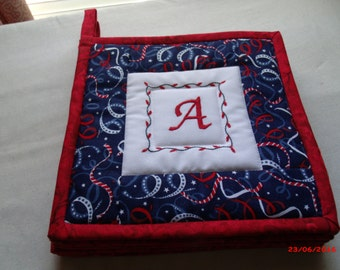 Personalized Hot Pads, Monogramed Hot Pads, Christmas Hot Pads Mug Rugs, Trivets, Initialed Hot Pads