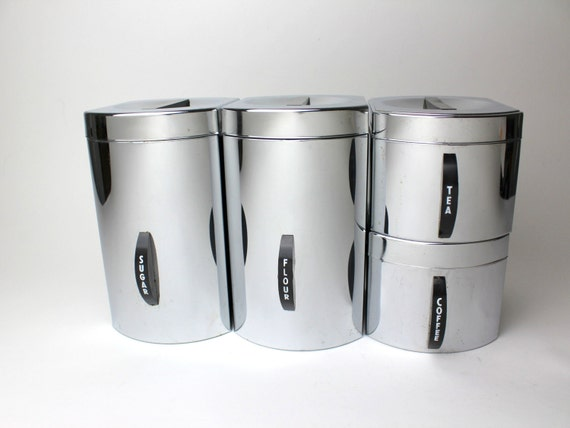 Vintage kromex stacking canisters set of 4 coffee tea - Tea coffee sugar stacking canisters ...