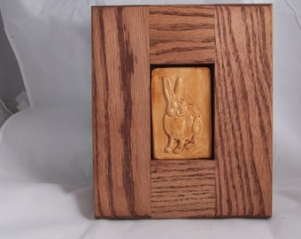 Art tile of Hare/Rabbit framed tan