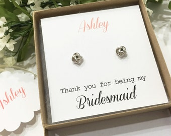 White Gold Love Knot Earrings, Bridesmaid gift, Bridesmaid earrings, bridal earrings, will you be my bridesmaid box, Bridal Jewelry