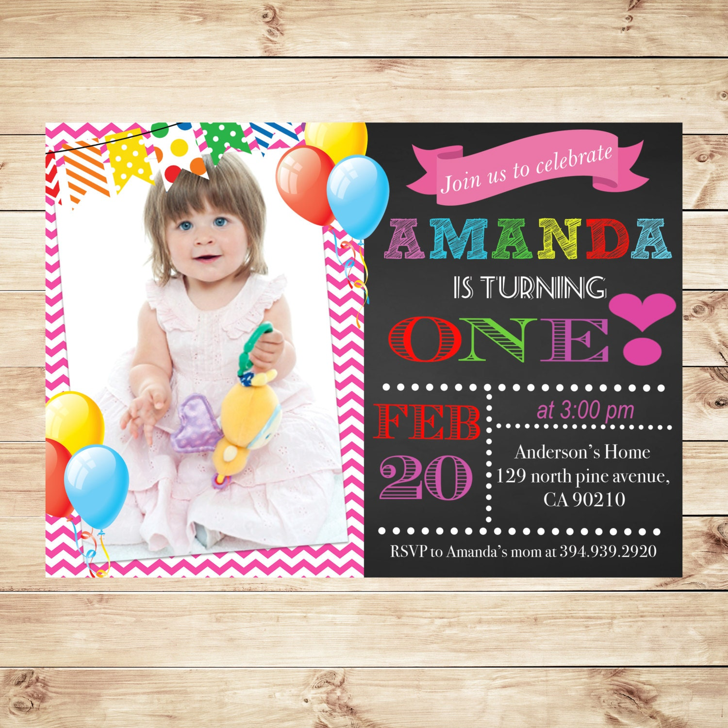 Personalized 1St Birthday Invitations With By
