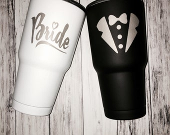 Bride and Groom Etched Tumblers