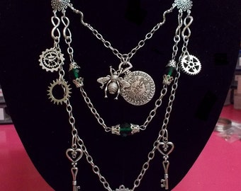 Steampunk Victorian bee watch gears steampunk bumble bee necklace jewelry keys necklace