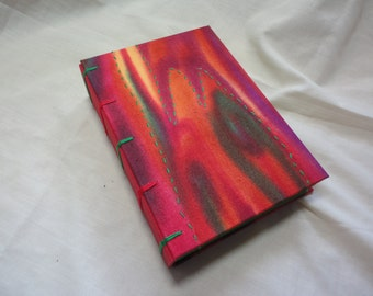 Red and Green Abstract - Handmade Notebook - Valentine's -Christmas -Mother's Day -Diary -Guest book -Journal -Vegan-Fabric