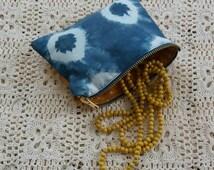 Indigo linen and cotton purse with mustard yellow polka dot fabric