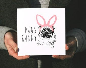 Pugs Bunny: Hand Screen Printed Greetings Card