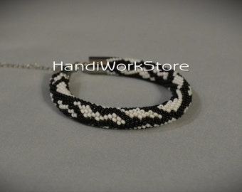 Black White Bead Crochet Bracelet Beaded Bracelets FREE SHIPPING