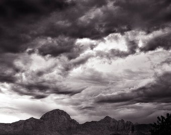 SEDONA MONSOON,  photography, black and white, landscape photo, storm clouds, cloud photography, nature, storm photography, GeddieGallery