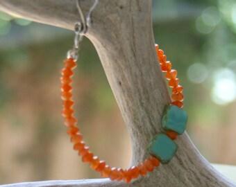 Bright Carnelian and Czech Glass Bracelet