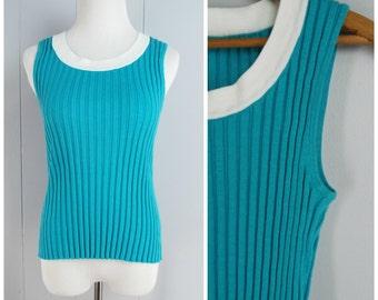 Vintage Womens 1990s Aqua Sleeveless Ribbed Top | Size: Free size up to Medium