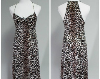 Vintage 70s/80s Vanity Fair Leopard Print Halter Style Nightie | Size S/32