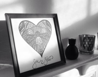 Personalised Geometric Heart Print