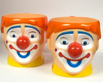 Vintage Circus Clown Mugs