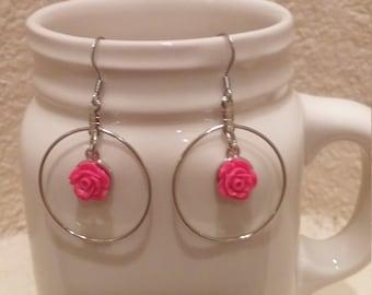 Pink Rose and Silver Hoop Earrings