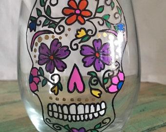 Hand crazy flower sugar skull stemless wine glass