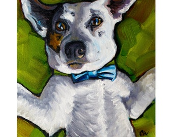 Jack Russel - Fine Art Giclee PRINT [Oil Painting, bowtie, dog portrait]