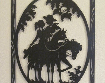 Couple on Horses metal hanging wall decor with durable powder coat finish