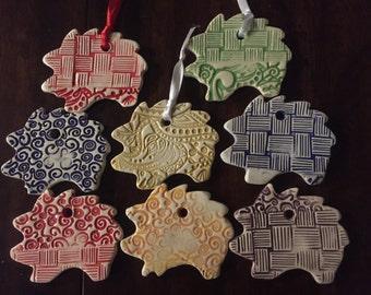 Ceramic Hedgehog Ornament, Ceramic Ornament, Ornament, Hedgehog