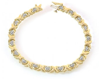 "0.50 Carat Diamond Heart and ""X""-Shaped Link 14K Yellow Gold Bracelet"