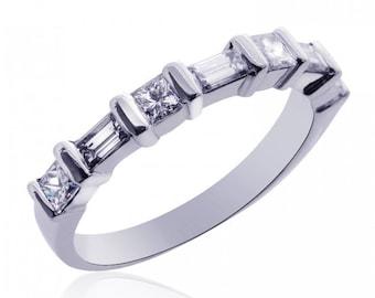 Platinum Ladies Princess & Baguette Diamond Wedding Band 0.60 tcw