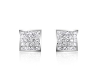 0.75 Carat Gorgeous Diamond Stud Earrings 14K White Gold