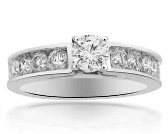 2.00 Carat E-SI Natural Round Cut Diamond Engagement Ring 14K White Gold