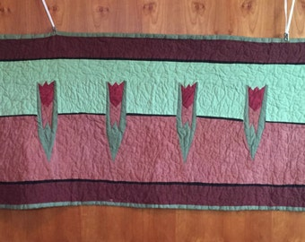 Arts and Crafts Tulip Table Runner Craftsman Style Home Decor Red Art
