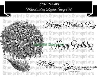 Digital Stamp Set - Mother's Day  (by Stamprints).Printable Vintage Image. Coloring Art.Sentiments