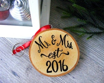 Our First Christmas Ornament - Wedding Christmas Ornaments - Rustic Wedding Ornament - Mr and Mrs Ornament - Newlywed Ornament - Couple Gift