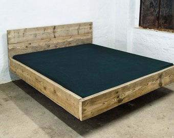 UpCycle design bed model: FLAOT from timber, solid wood, planks, building planks, Landhaus, shabby chic, DIY,.