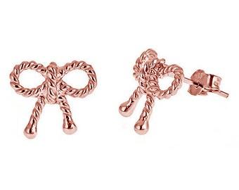 ROSE GOLD TWIST Bow Stud Earrings