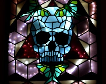 Glass Skull & Luna Moths Stained Glass Lightbox