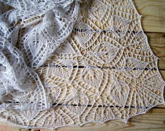 lace shawl,ecru  shawl, Hand Knit Shawl, Knit Lace Wedding Shawl, Womens Knit Shawl, Knit Shawl, READY to be SHIPPED
