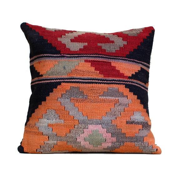 Southwestern Pillow Case 20x20 Kilim Pillow Turkish Pillow Red