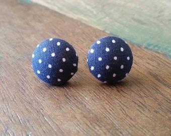 Navy Blue Poka Dot Button Earrings 15mm