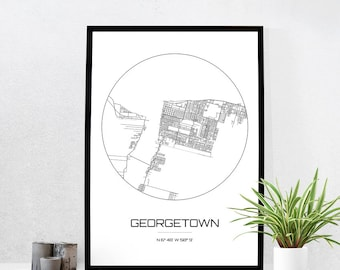 Georgetown Map Print - City Map Art of Georgetown Guyana Poster - Coordinates Wall Art Gift - Travel Map - Office Home Decor