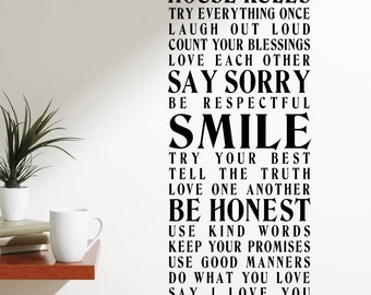 House Rules 3 Wall Decal Sticker VC0192