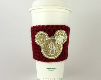 Glitzy Monogram Mouse Coffee Cup Cozy / Crochet Coffee Sleeve / Reusable Cozie / Customizable