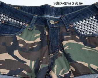 W28 Denim Shorts |Lee Denim Shorts |Jean Shorts |Reworked Shorts |Grunge Hipster Clothes| Customized Shorts |Cutoffs |Camouflage Camo Shorts
