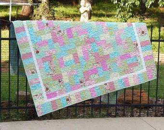 Modern Lap Quilt, Pink Quilt, Floral Quilt